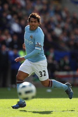 BOLTON, ENGLAND - MAY 22:  Carlos Tevez of Manchester City in action during the Barclays Premier League match between  Bolton Wanderers and Manchester City at the Reebok Stadium on May 22, 2011 in Bolton, England.  (Photo by Michael Steele/Getty Images)