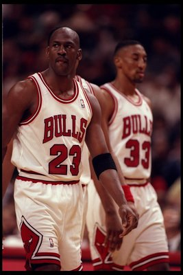 20 Apr 1996:  Chicago Bulls guard Michael Jordan and forward Scottie Pippen look on duirng a game against the Indiana Pacers played at the United Center in Chicago, Illinois.  The Pacers won the game, 100-99. Mandatory Credit: Jonathan Daniel  /Allsport