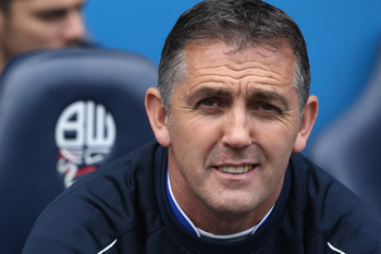 BOLTON, ENGLAND - MAY 22:  Owen Coyle manager of Bolton Wanderers during the Barclays Premier League match between  Bolton Wanderers and Manchester City at the Reebok Stadium on May 22, 2011 in Bolton, England.  (Photo by Michael Steele/Getty Images)