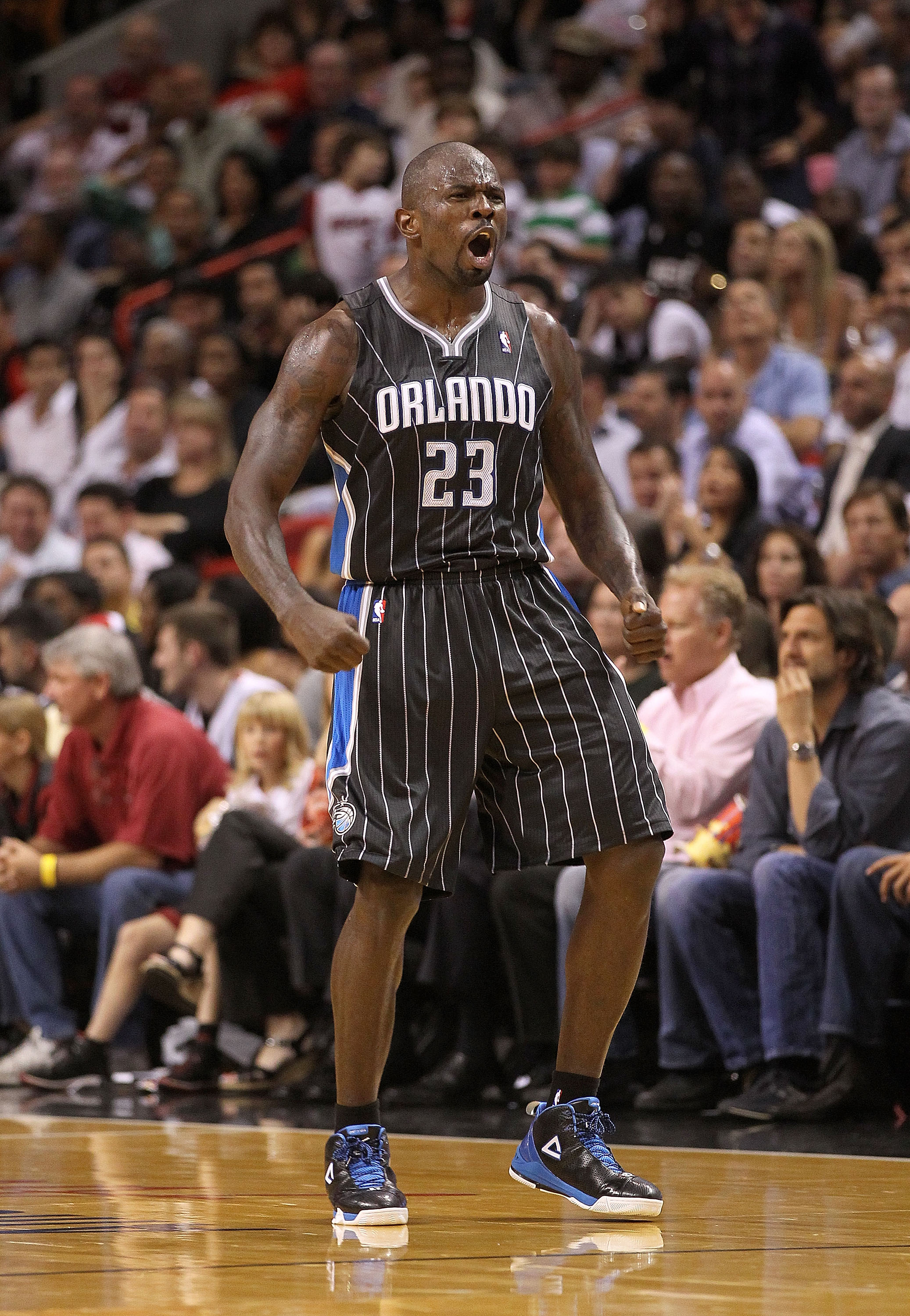 MIAMI, FL - MARCH 03:  Jason Richardson #23 of the Orlando Magic reacts after a 3 pointer during a game against the Miami Heat at American Airlines Arena on March 3, 2011 in Miami, Florida. NOTE TO USER: User expressly acknowledges and agrees that, by dow