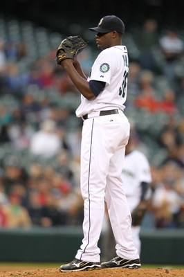 SEATTLE - MAY 04:  Starting pitcher Michael Pineda #36 of the Seattle Mariners looks in for the sign against the Texas Rangers at Safeco Field on May 4, 2011 in Seattle, Washington. (Photo by Otto Greule Jr/Getty Images)