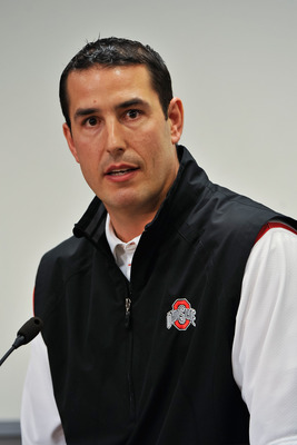 COLUMBUS, OH - MARCH 30:  Assistant Head Coach Luke Fickell speaks to the media during a press conference before the start of Spring practices at the Woody Hayes Athletic Center at The Ohio State University on March 30, 2011 in Columbus, Ohio. Fickell wil