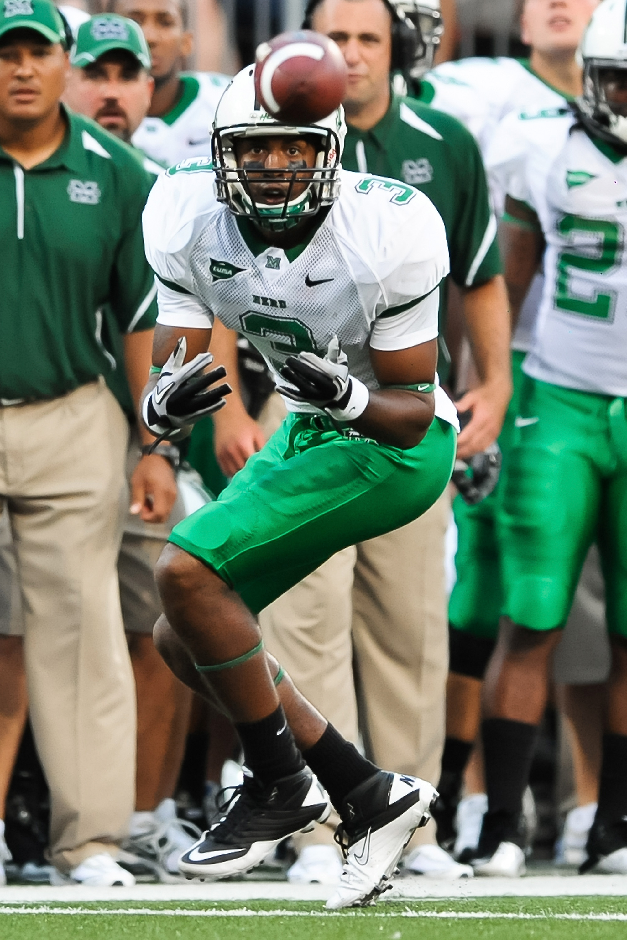 COLUMBUS, OH - SEPTEMBER 2: Aaron Dobson #3 of the Marshall Thundering Herd catches a pass against the Ohio State Buckeyes at Ohio Stadium on September 2, 2010 in Columbus, Ohio. (Photo by Jamie Sabau/Getty Images)