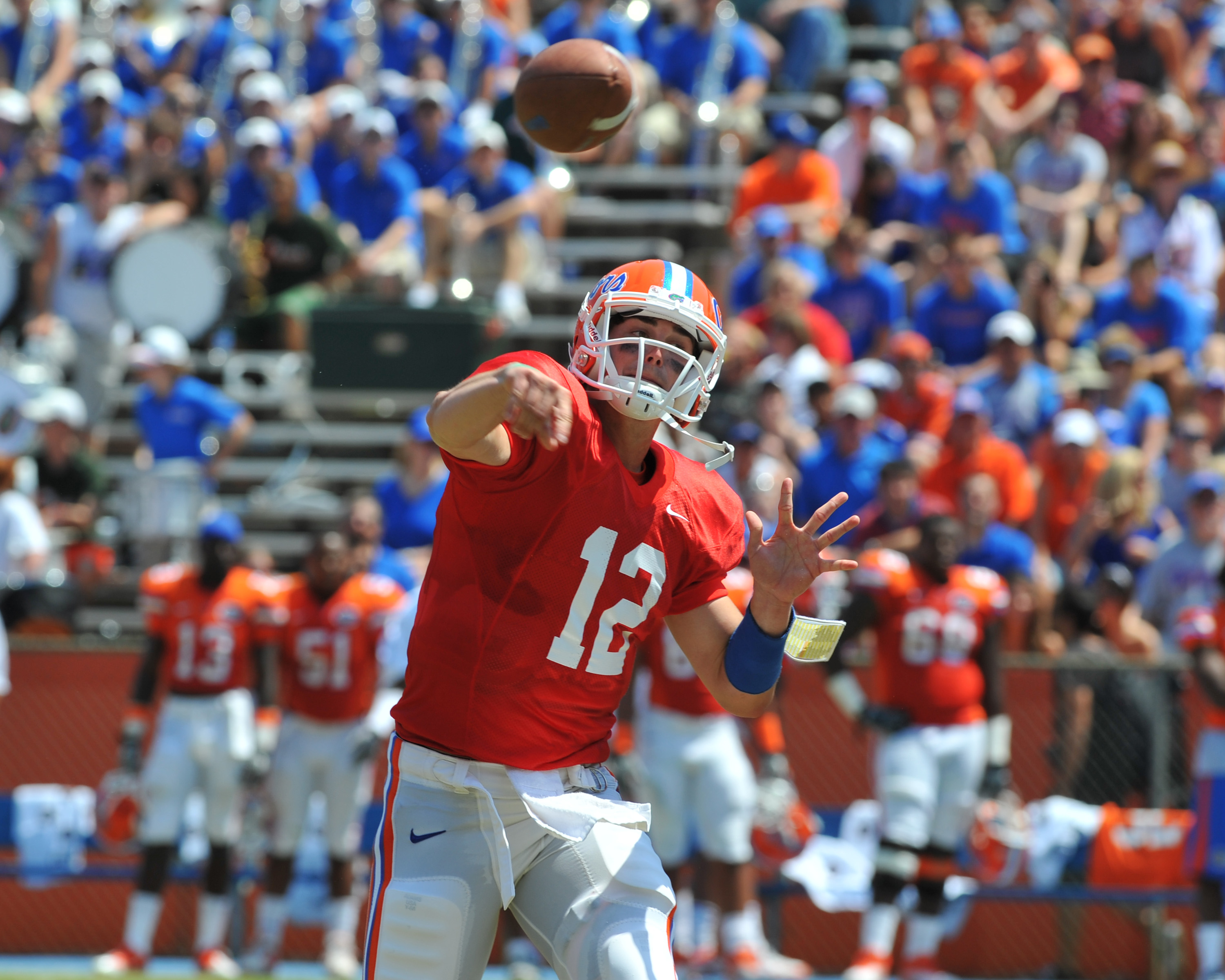 GAINESVILLE, FL - APRIL 9:  Quarterback John Brantley #12 of the Florida Gators releases a pass during the Orange and Blue spring football game April 9, 2011 at Ben Hill Griffin Stadium in Gainesville, Florida.  (Photo by Al Messerschmidt/Getty Images)