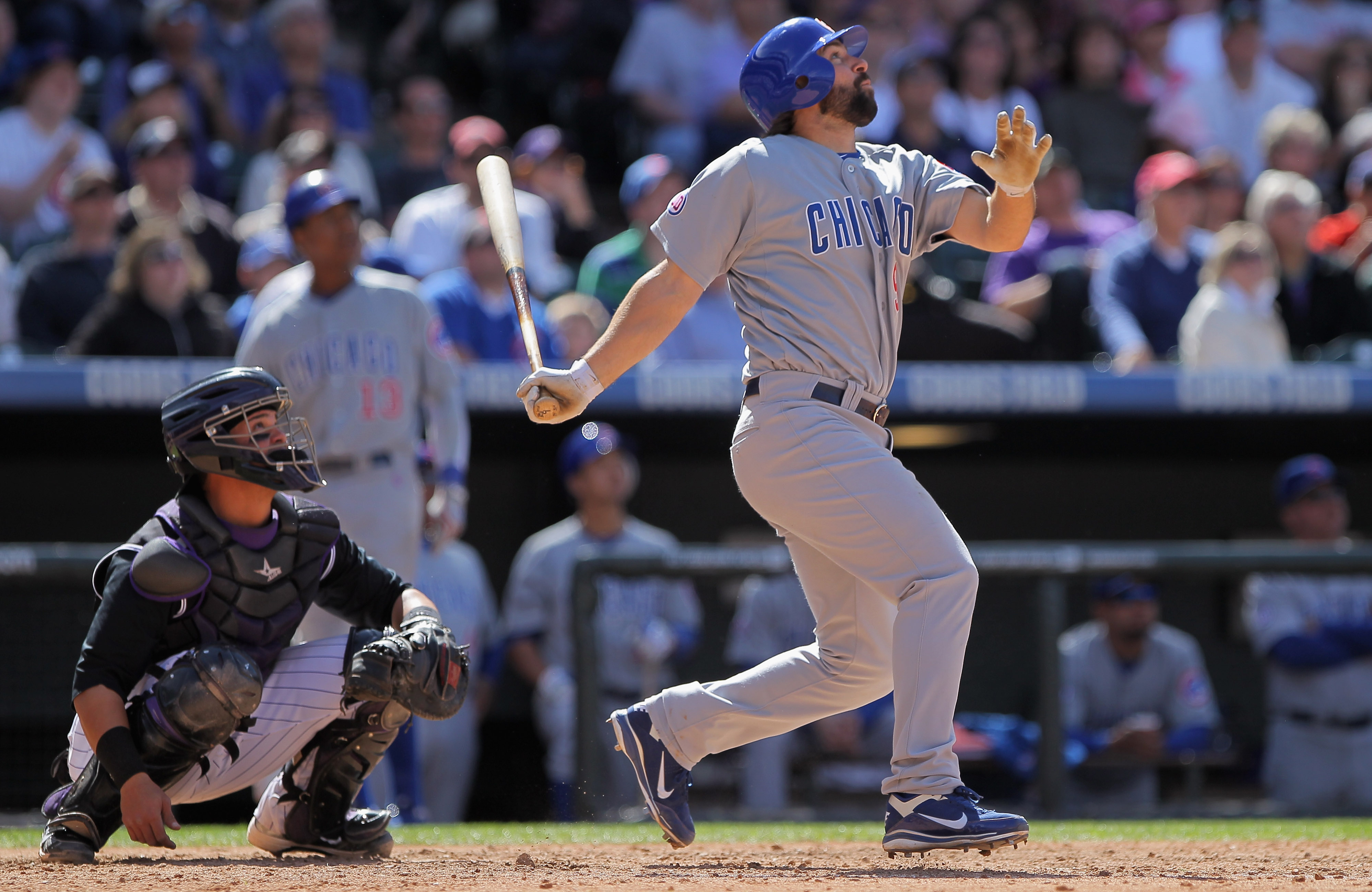 DENVER, CO - APRIL 17:  Blake DeWitt #9 of the Chicago Cubs takes an at bat against the Colorado Rockies at Coors Field on April 17, 2011 in Denver, Colorado.  (Photo by Doug Pensinger/Getty Images)