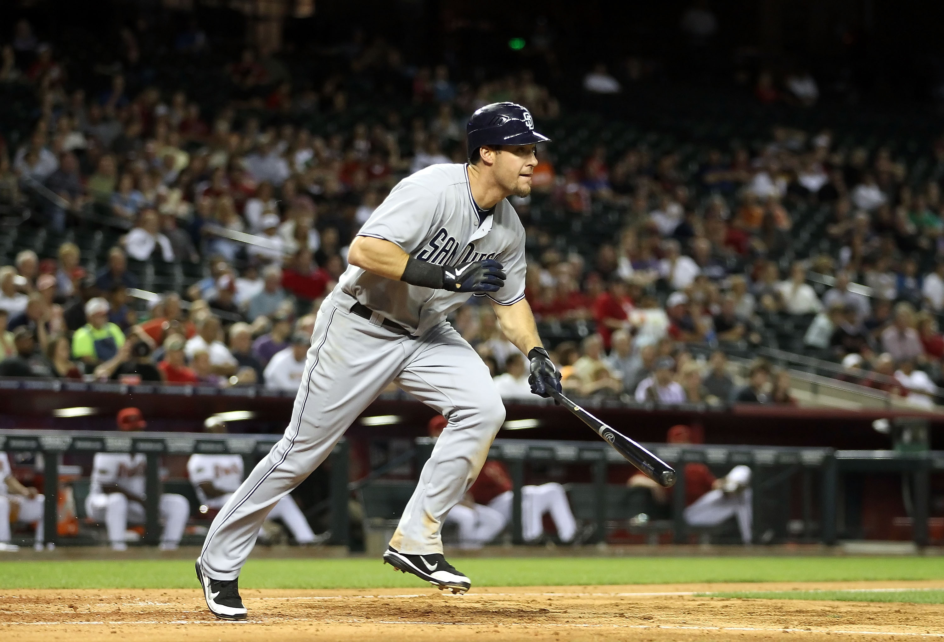 PHOENIX, AZ - MAY 17:  Ryan Ludwick #47 of the San Diego Padres bats against the Arizona Diamondbacks during the Major League Baseball game at Chase Field on May 17, 2011 in Phoenix, Arizona.  (Photo by Christian Petersen/Getty Images)