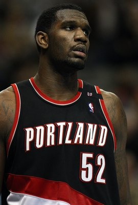 DALLAS - FEBRUARY 04:  Greg Oden #52 of the Portland Trail Blazers during play against the Dallas Mavericks on February 4, 2009 at American Airlines Center in Dallas, Texas.  NOTE TO USER: User expressly acknowledges and agrees that, by downloading and/or