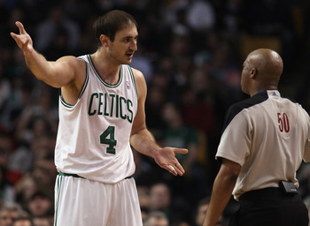 BOSTON, MA - MARCH 23:  Nenad Krstic #4 of the Boston Celtics tries to talk with a referee after a foul call against him in the second half against the Memphis Grizzlies on March 23, 2011 at the TD Garden in Boston, Massachusetts.  The Memphis Grizzlies d
