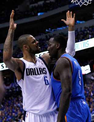 DALLAS, TX - MAY 17:  Tyson Chandler #6 of the Dallas Mavericks and Kendrick Perkins #5 of the Oklahoma City Thunder exchange words in the first quarter in Game One of the Western Conference Finals during the 2011 NBA Playoffs at American Airlines Center