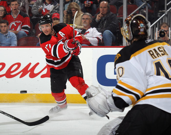 NEWARK, NJ - APRIL 10: Ilya Kovalchuk #17 of the New Jersey Devils skates against the Boston Bruins at the Prudential Center on April 10, 2011 in Newark, New Jersey.  (Photo by Bruce Bennett/Getty Images)