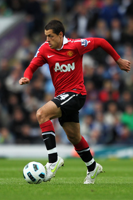 BLACKBURN, ENGLAND - MAY 14:  Javier Hernandez of Manchester United in action during the Barclays Premier League match between Blackburn Rovers and Manchester United at Ewood park on May 14, 2011 in Blackburn, England.  (Photo by Dean Mouhtaropoulos/Getty