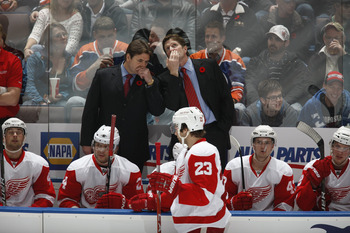 EDMONTON, CANADA - NOVEMBER 5: Mike Babcock, Brad McCrimmon of the Detroit Red Wings skates against the Edmonton Oilers on November 5, 2010 at Rexall Place in Edmonton, Alberta, Canada. (Photo by Dale MacMillan/Getty Images)
