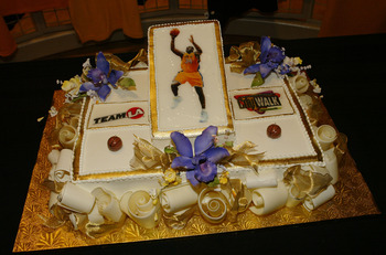 CALIFORNIA - MARCH 6:  A cake is seen at Los Angeles Lakers Shaquille O'Neal 32nd birthday celebration and opening of the Team LA Superstore on Universal Studios Citywalk March 6, 2004 in Los Angeles, California.  (Photo by Mark Mainz/Getty Images)