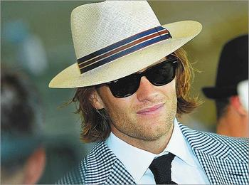 Tom Brady showed up to the 2011 Kentucky Derby in this 1920's, or 1930's, whatever, It's old school. Note the hat, classic.