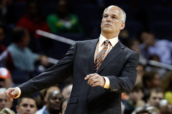 CHARLOTTE, NC - MARCH 16:  Head coach Jay Triano of the Toronto Raptors watches his team in action against the Charlotte Bobcats during their game at Time Warner Cable Arena on March 16, 2009 in Charlotte, North Carolina.  NOTE TO USER: User expressly ack