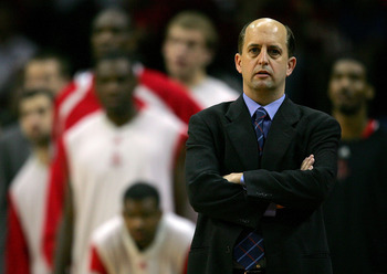 HOUSTON - APRIL 23:  Coach Jeff Van Gundy of the Houston Rockets on the sidelines while playing the Utah Jazz during Game Two of the Western Conference Quarterfinals against the Utah Jazz during the 2007 NBA Playoffs at the Toyota Center on April 23, 2007