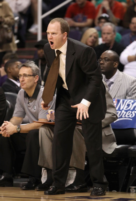 PHOENIX, AZ - JANUARY 28:  Assistant coach Lawrence Frank of the Boston Celtics reacts during the NBA game against the Phoenix Suns at US Airways Center on January 28, 2011 in Phoenix, Arizona. The Suns defeated the Celtics 88-71. NOTE TO USER: User expre