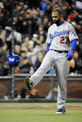 SAN FRANCISCO, CA - APRIL 13:  Matt Kemp #27 of the Los Angeles Dodgers kicks his helmet after striking out for the third out in the top of the 7th inning against the San Francisco Giants during a MLB baseball game at AT&T Park April 13, 2011 in San Franc