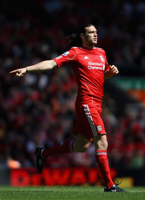 LIVERPOOL, ENGLAND - MAY 01:  Andy Carroll of Liverpool in action during the Barclays Premier League match between Liverpool  and Newcastle United at Anfield on May 1, 2011 in Liverpool, England.  (Photo by Clive Brunskill/Getty Images)