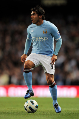 MANCHESTER, ENGLAND - MAY 10:  Carlos Tevez of Manchester City in action during the Barclays Premier League match between Manchester City and Tottenham Hotspur at the City of Manchester Stadium on May 10, 2011 in Manchester, England.  (Photo by Michael Re