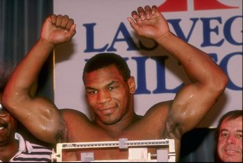 1989:  Mike Tyson weighs in for a fight. Mandatory Credit: Holly Stein  /Allsport