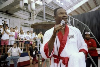 19 Jun 1992:  Larry Holmes talks to fans prior to his fight against Evander Holyfield in Las Vegas, Nevada.  Holyfield won the fight with an unanimous decision after 12 rounds. Mandatory Credit: Holly Stein  /Allsport