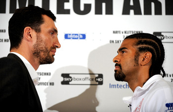 LONDON, ENGLAND - MAY 10:  David Haye and Wladimir Klitschko go head to head during the David Haye v Wladimir Klitschko Press Conference at the Park Plaza Hotel on May 10, 2011 in London, England.  (Photo by Christopher Lee/Getty Images)