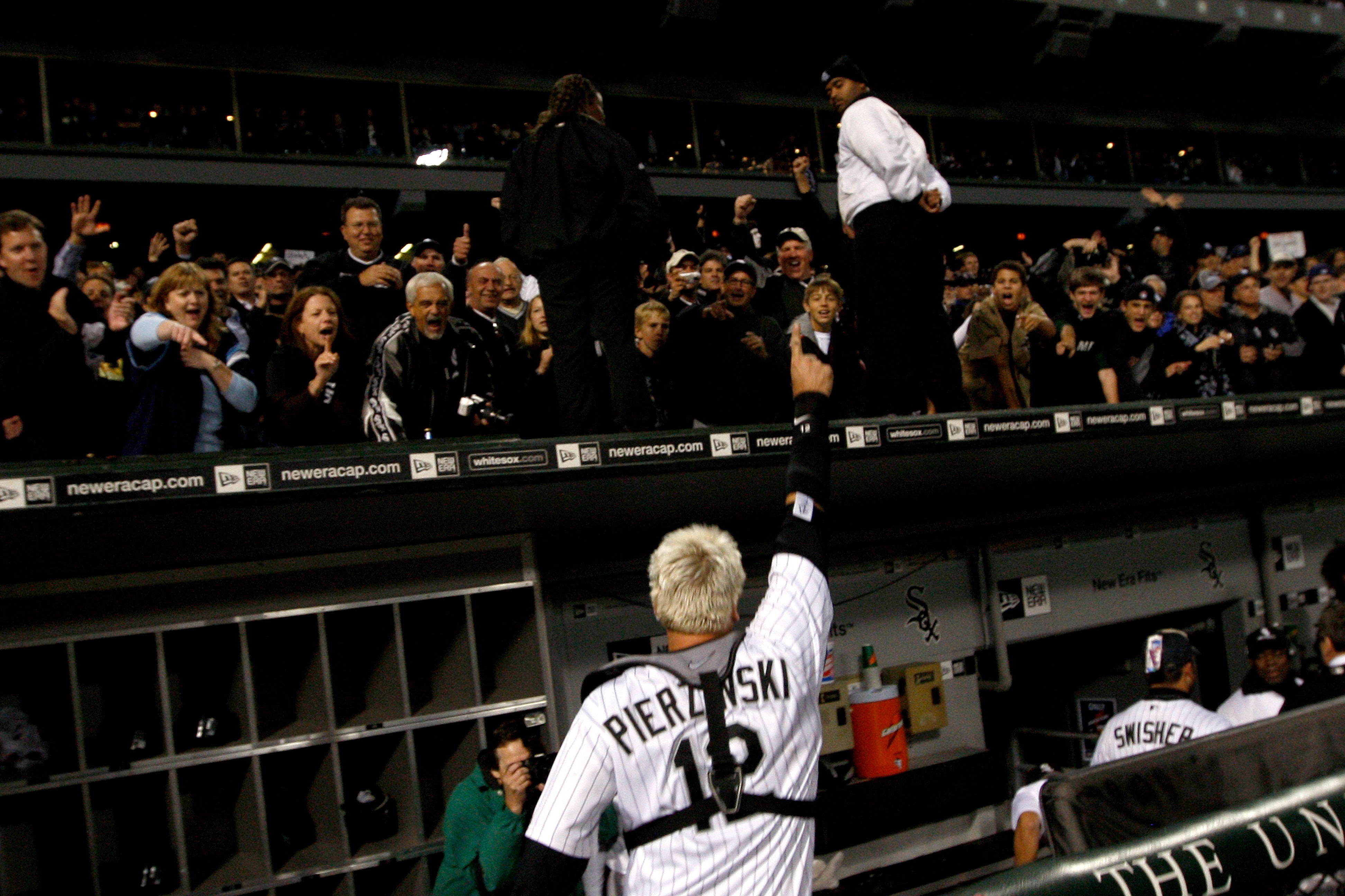 CHICAGO - SEPTEMBER 30:  Catcher A.J. Pierzynski #12 of the Chicago White Sox acknowledges the fans as he celebrates their 1-0 win against the Minnesota Twins during the American League Central Division Tiebreaker game at U.S. Cellular Field on September