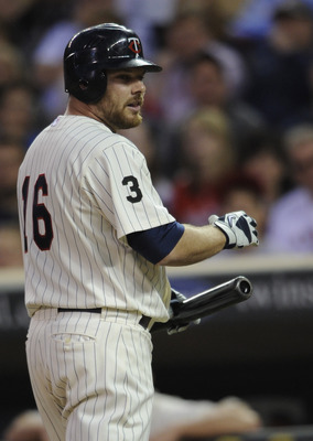 MINNEAPOLIS, MN - MAY 28: Jason Kubel #16 of the Minnesota Twins reacts to a called third strike by the Los Angeles Angels of Anaheim during the tenth inning of their game on May 28, 2011 at Target Field in Minneapolis, Minnesota. Twins defeated the Angel