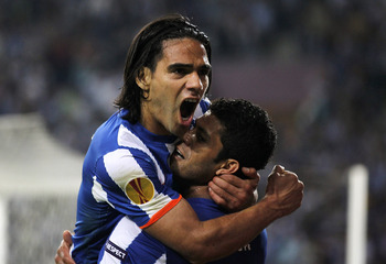 PORTO, PORTUGAL - APRIL 28:  Radamel Falcao of FC Porto celebrates with Givalnildo Vieira 'Hulk' after scoring his side third goal during the UEFA Europa League semi final first leg match between FC Porto and Villarreal at Estadio do Dragao on April 28, 2