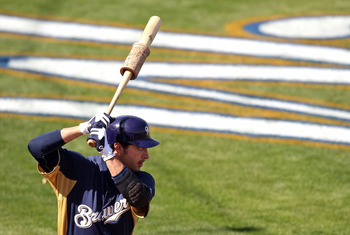 PHOENIX, AZ - MARCH 03:  Ryan Braun #8 of the Milwaukee Brewers warms up on deck during the spring training game against the Oakland Athletics at Maryvale Baseball Park on March 3, 2011 in Phoenix, Arizona.  (Photo by Christian Petersen/Getty Images)