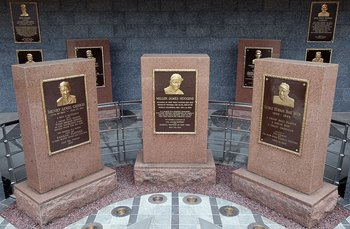 NEW YORK - MAY 02:  The monuments of (L-R) Lou Gehrig, Miller Huggins, and Babe Ruth are seen in Monument Park at Yankee Stadium prior to game between the New York Yankees and the Chicago White Sox on May 2, 2010 in the Bronx borough of New York City. The