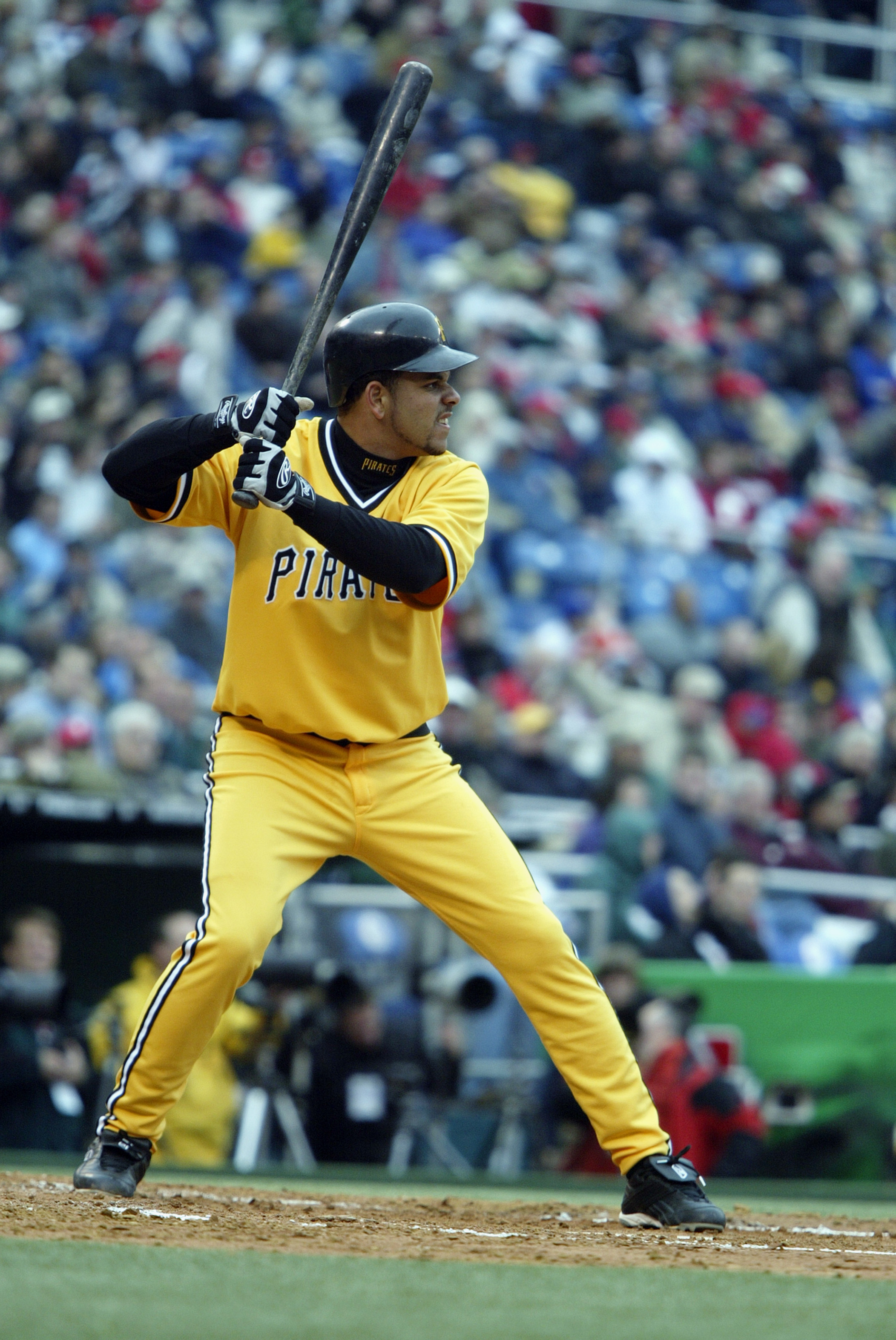 PHILADELPHIA - APRIL 4:  Aramis Ramirez #16 of the Pittsburgh Pirates stands at bat during the game against the Philadelphia Phillies at Veterans Stadium on April 4, 2003 in Philadelphia, Pennsylvania.  The Pirates defeated the Phillies 9-1.  (Photo by Al