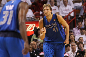 MIAMI, FL - JUNE 02:  Dirk Nowitzki #41 of the Dallas Mavericks reacts against the Miami Heat in Game Two of the 2011 NBA Finals at American Airlines Arena on June 2, 2011 in Miami, Florida. THe Mavericks won 95-93. NOTE TO USER: User expressly acknowledg