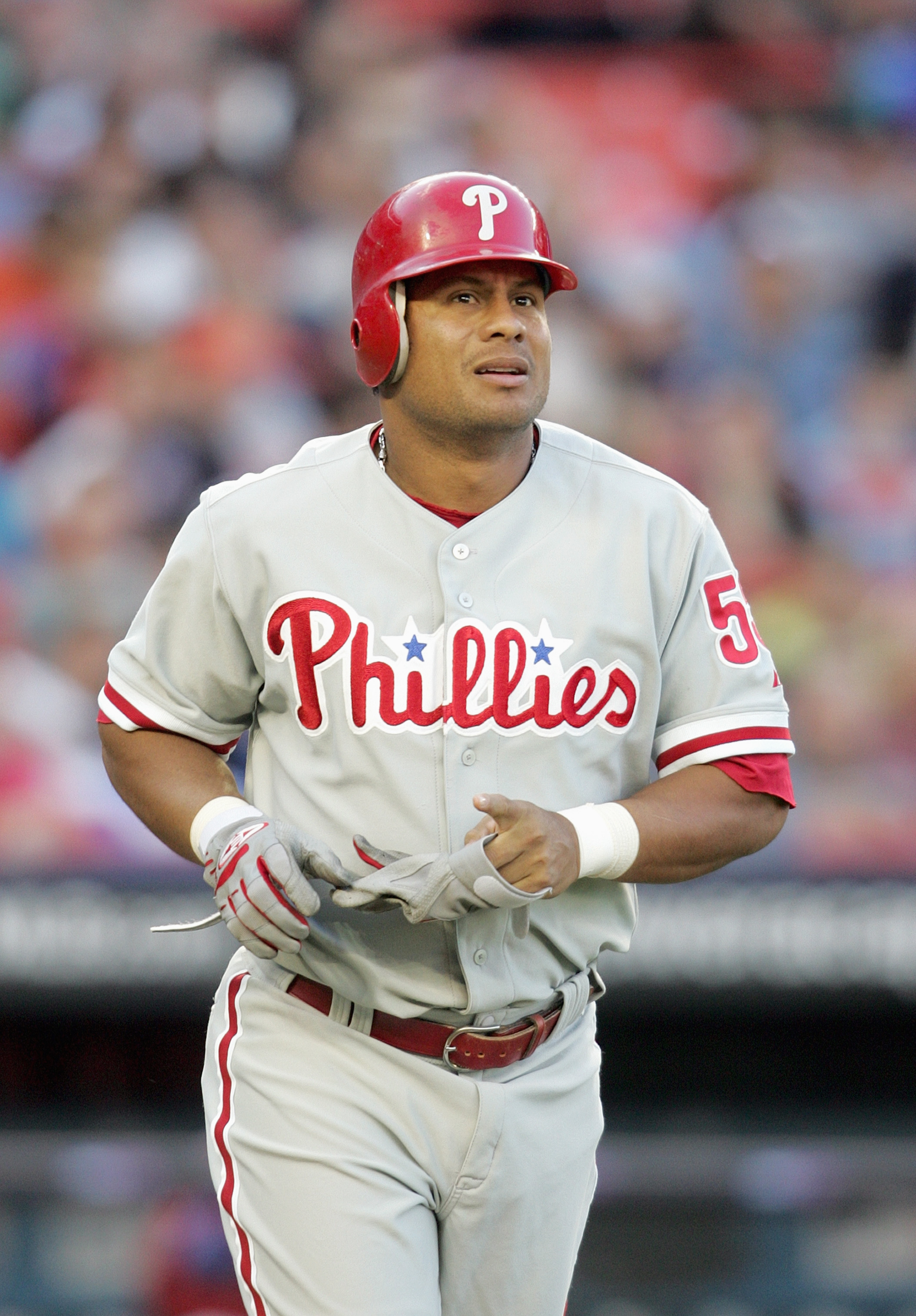FLUSHING, NY - MAY 24: Bobby Abreu #53 of the Philadelphia Phillies moves to first base during the game against the New York Mets on May 24, 2006 at Shea Stadium in the Flushing neighborhood of the Queens borough of New York City. The Mets won 5-4. (Photo