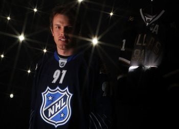 RALEIGH, NC - JANUARY 30:  (EDITORS NOTE: A special effects camera filter was used for this image.) Brad Richards #91 of the Dallas Stars for Team Lidstrom poses for a portrait before the 58th NHL All-Star Game at RBC Center on January 30, 2011 in Raleigh