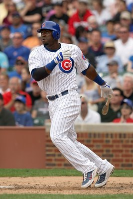 CHICAGO - JUNE 17: Milton Bradley #21 of the Chicago Cubs swings at the pitch during the game against the Chicago White Sox on June 17, 2009 at Wrigley Field in Chicago, Illinois. (Photo by Jonathan Daniel/Getty Images)