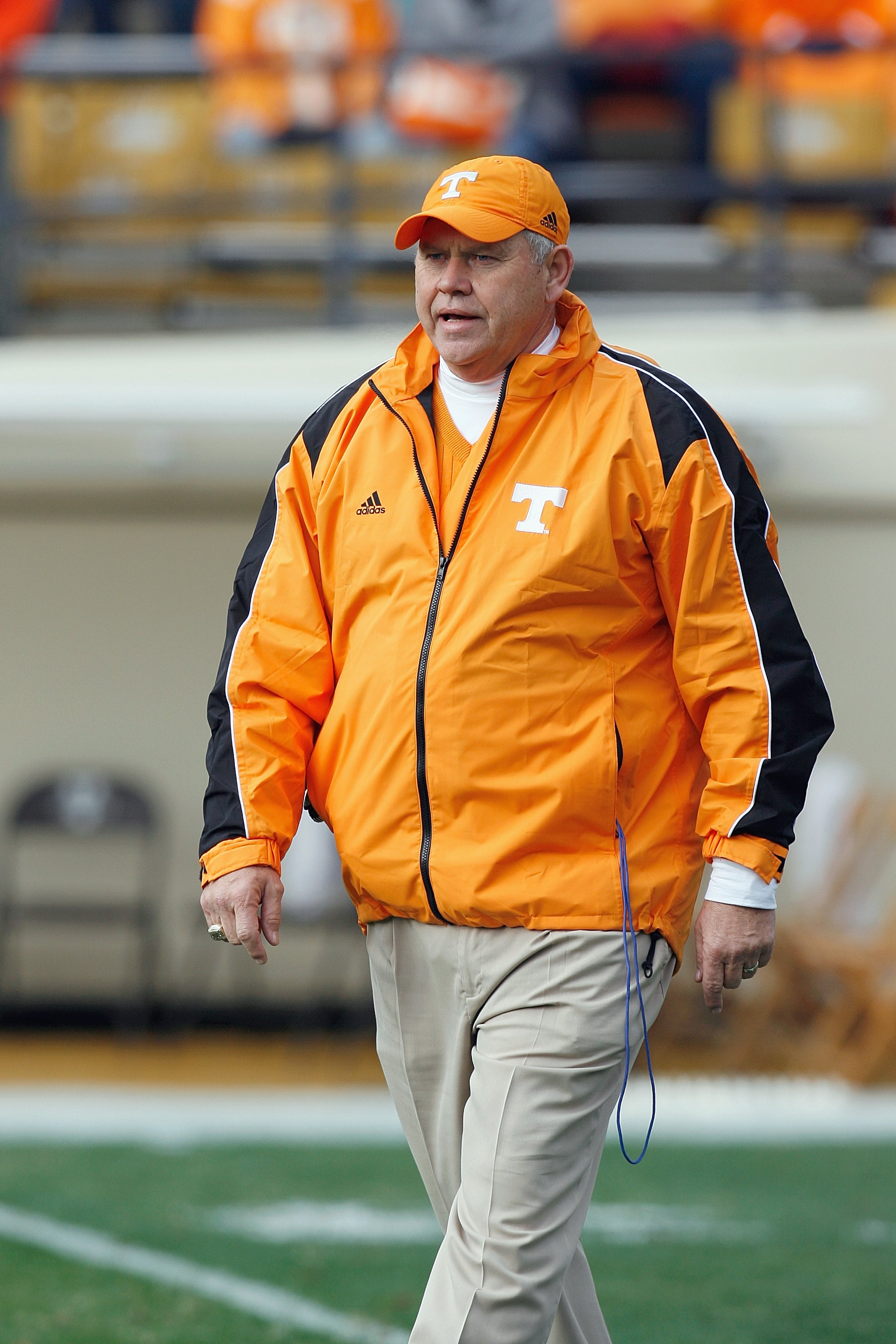 NASHVILLE, TN - NOVEMBER 22:  Head coach Phillip Fulmer of the Tennessee Volunteers walks on the field before the game against the Vanderbilt Commodores at Vanderbilt Stadium on November 22, 2008 in Nashville, North Carolina.  (Photo by Kevin C. Cox/Getty