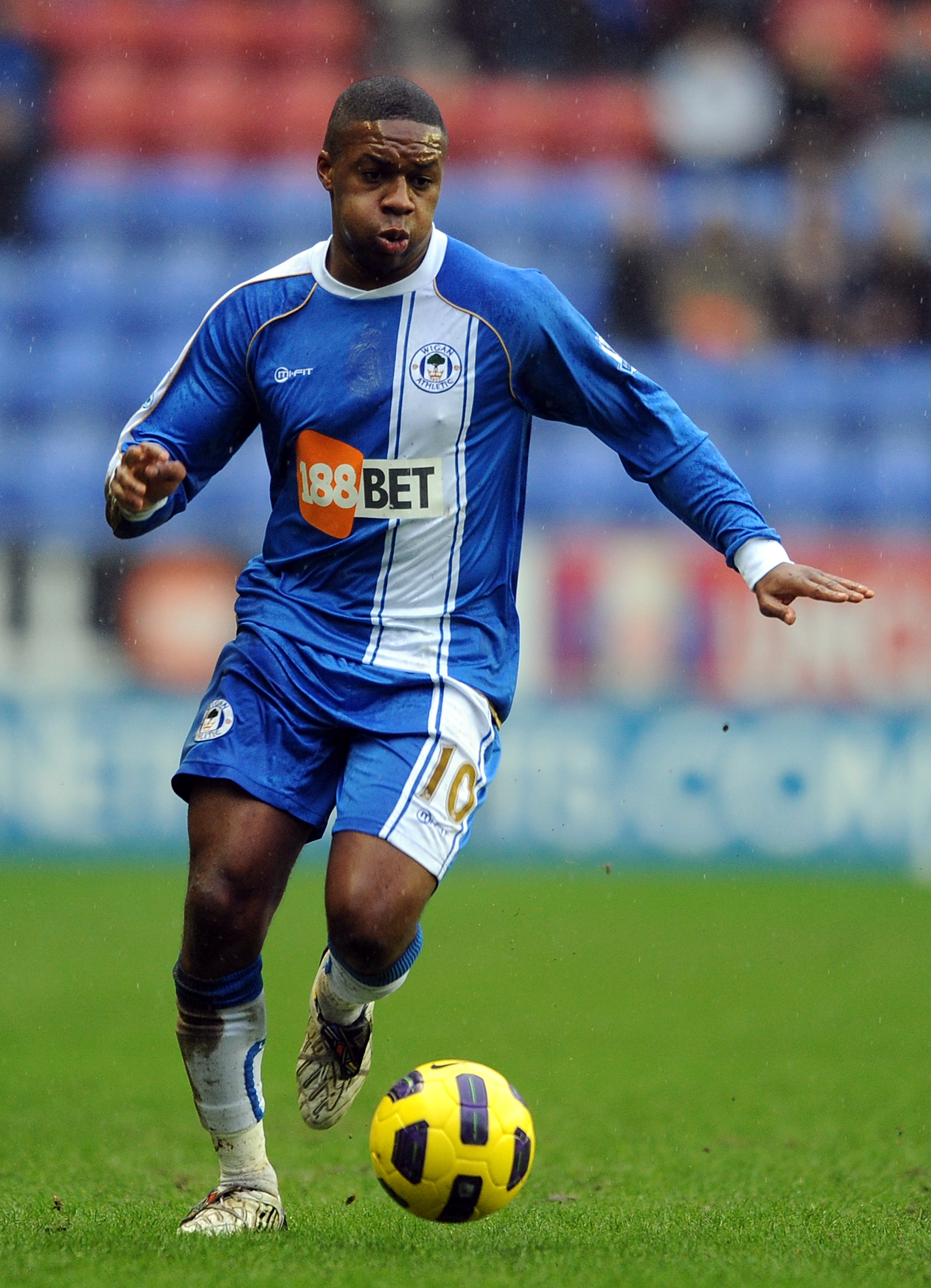 WIGAN, ENGLAND - FEBRUARY 05:  Charles N'Zogbia of Wigan Athletic competes during the Barclays Premier League match between Wigan Athletic and Blackburn Rovers at DW Stadium on February 5, 2011 in Wigan, England.  (Photo by Chris Brunskill/Getty Images)
