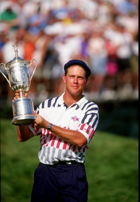 1991:  Payne Stewart of the USA holds the trophy aloft after winning the US Open at Hazeltine National Golf Club in Minneapolis, Minnesota, USA.  \ Mandatory Credit: David  Cannon/Allsport