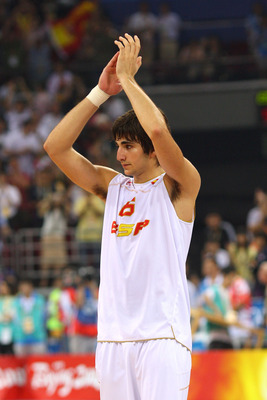 BEIJING - AUGUST 24:  Ricky Rubio #6 of Spain reacts after the United States won 118-107 in the gold medal game during Day 16 of the Beijing 2008 Olympic Games at the Beijing Olympic Basketball Gymnasium on August 24, 2008 in Beijing, China.  (Photo by Ph