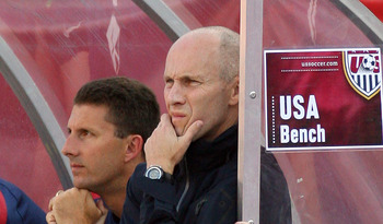 FOXBORO, MA - JUNE 4:  Head coach Bob Bradley of the United States watches from the sidelines as his team looses to Spain 4-0 at Gillette Stadium on June 4, 2011 in Foxboro, Massachusetts. (Photo by Gail Oskin/Getty Images)