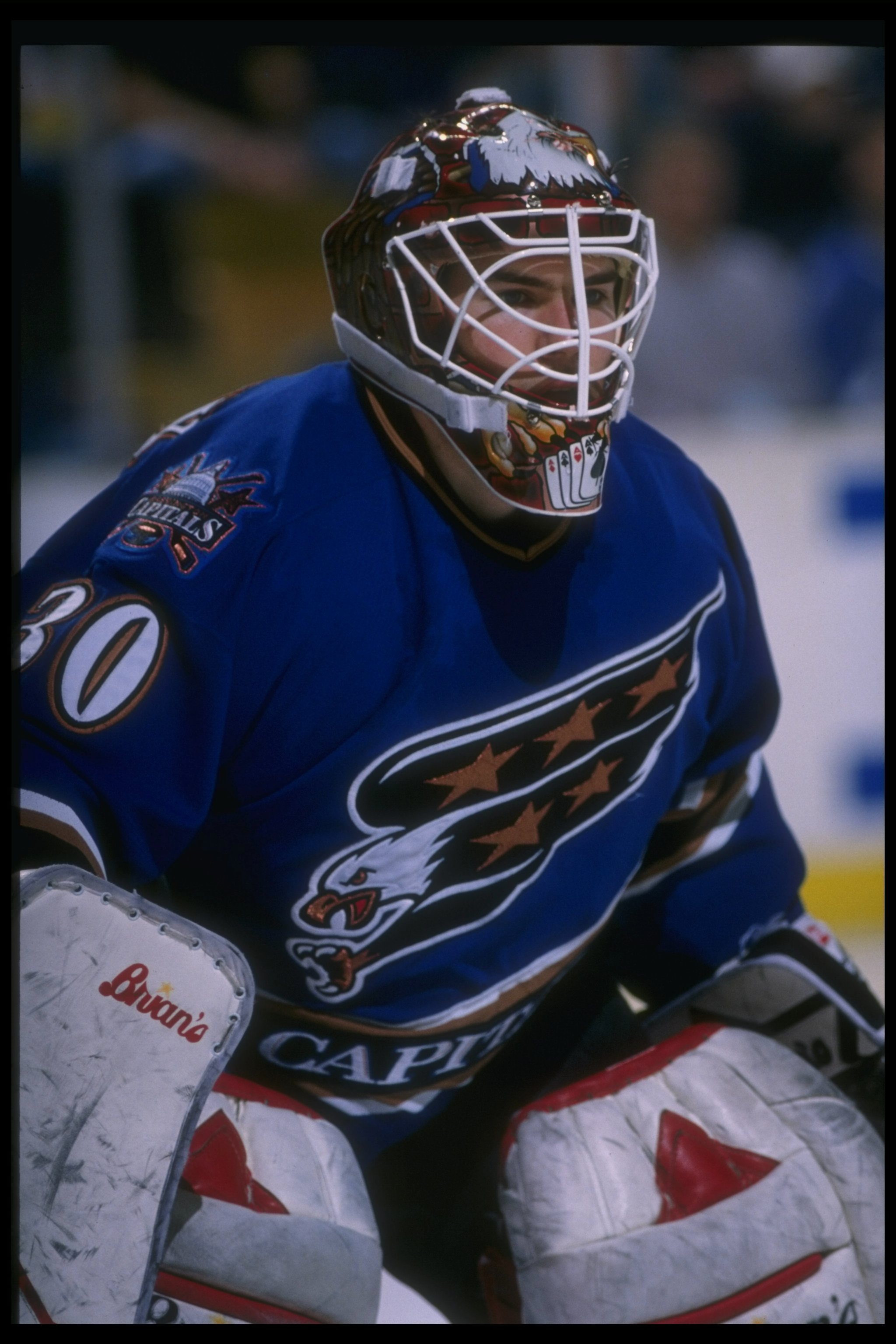 9 Apr 1996: Goaltender Jim Carey of the Washington Capitals looks on during a game against the Buffalo Sabres at Memorial Auditorium in Buffalo, New York.