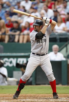 ARLINGTON, TX - JULY 22:  Jason Varitek #33 of the Boston Red Sox stands ready at bat during the game against the Texas Rangers at Rangers Ballpark July 22, 2009 in Arlington, Texas.  (Photo by Ronald Martinez/Getty Images)