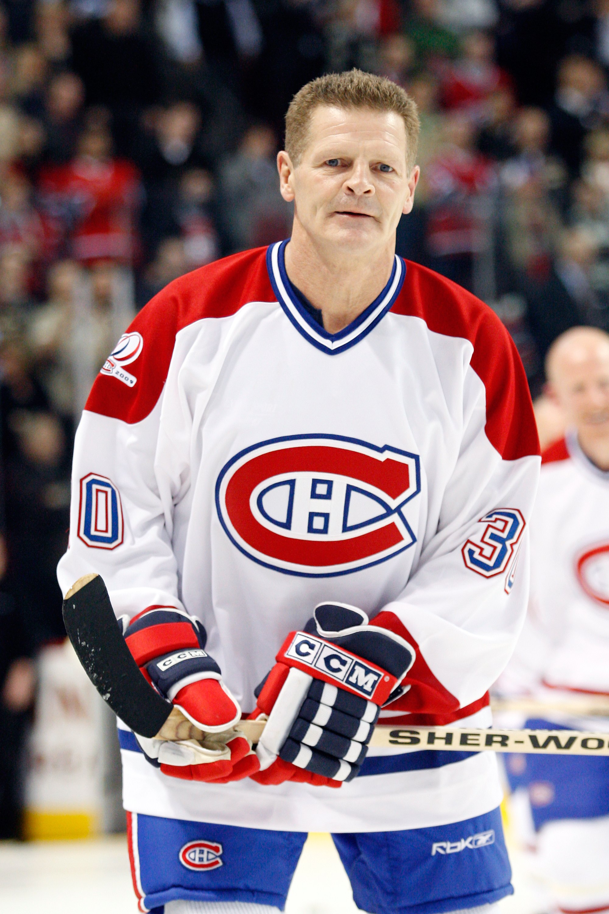 MONTREAL- DECEMBER 4:  Former Montreal Canadien Chris Nilan skates during the Centennial Celebration ceremonies prior to the NHL game between the Montreal Canadiens and Boston Bruins on December 4, 2009 at the Bell Centre in Montreal, Quebec, Canada.  The