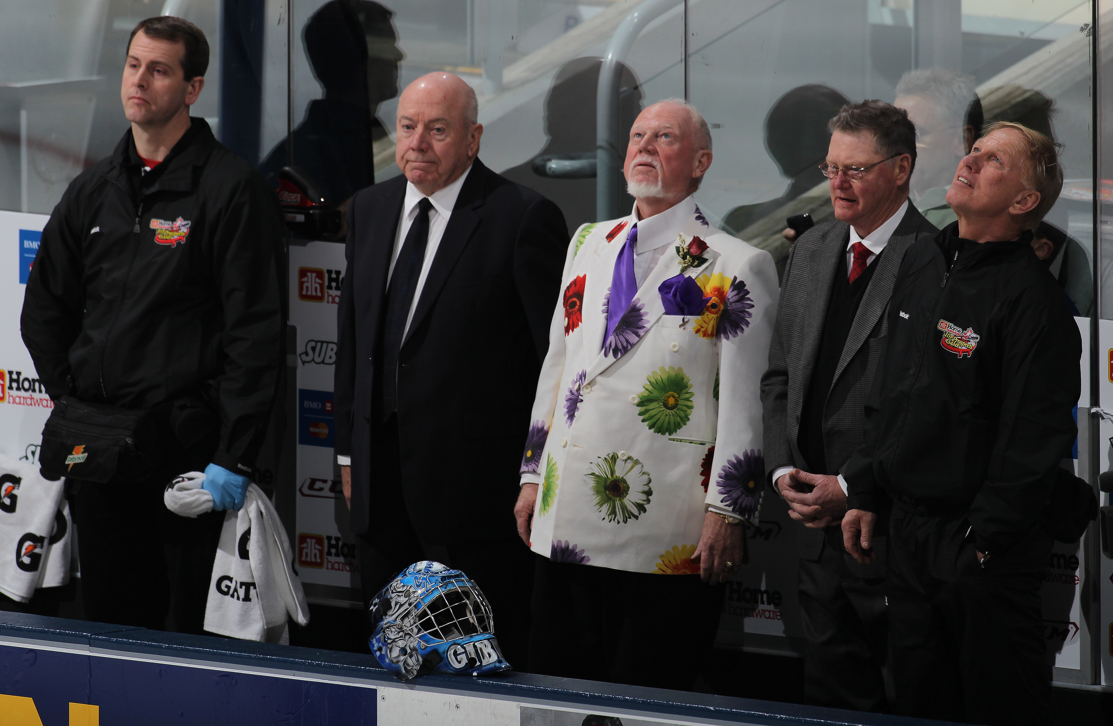 TORONTO, CAN - JANUARY 19:  Coaches Don Cherry, Brian Kilrea, and Bert O'Brien of Team Cherry watch opeing ceremonies prior to playing against Team Orr in the 2011 Home Hardware Top Prospects game on January 19, 2011 at the Air Canada Centre in Toronto, C