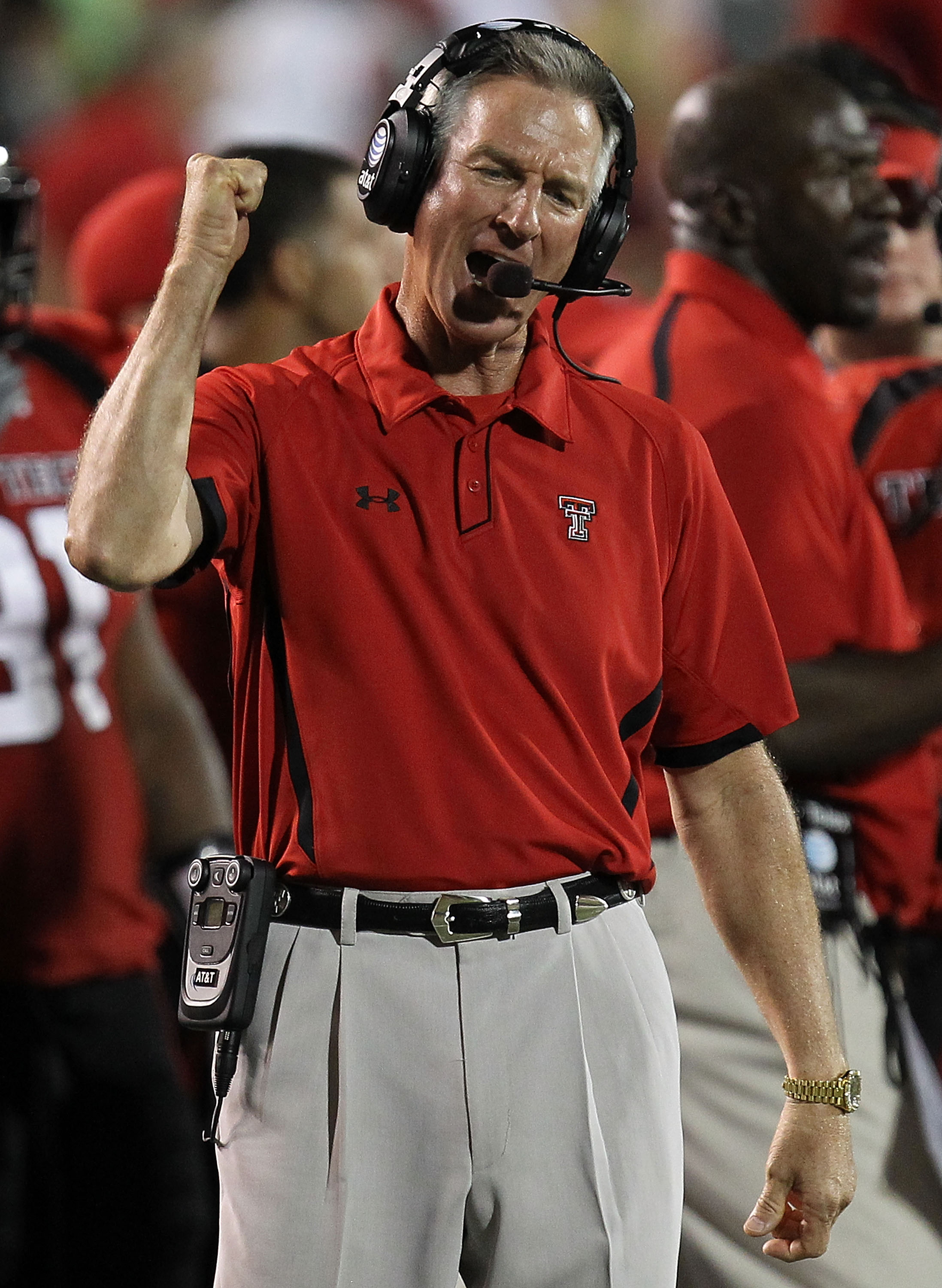 LUBBOCK, TX - SEPTEMBER 18:  Head coach Tommy Tuberville of the Texas Tech Red Raiders reacts on the sidelines during play against the Texas Longhorns at Jones AT&T Stadium on September 18, 2010 in Lubbock, Texas.  (Photo by Ronald Martinez/Getty Images)