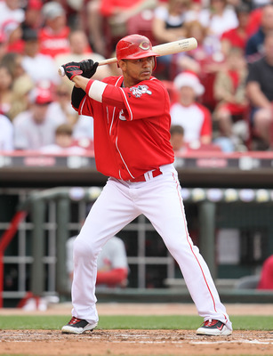 CINCINNATI - MAY 16:  Orlando Cabrera #2 of the Cincinnati Reds is at bat during the game against the St. Louis Cardinals at Great American Ball Park on May 16, 2010 in Cincinnati, Ohio.  (Photo by Andy Lyons/Getty Images)