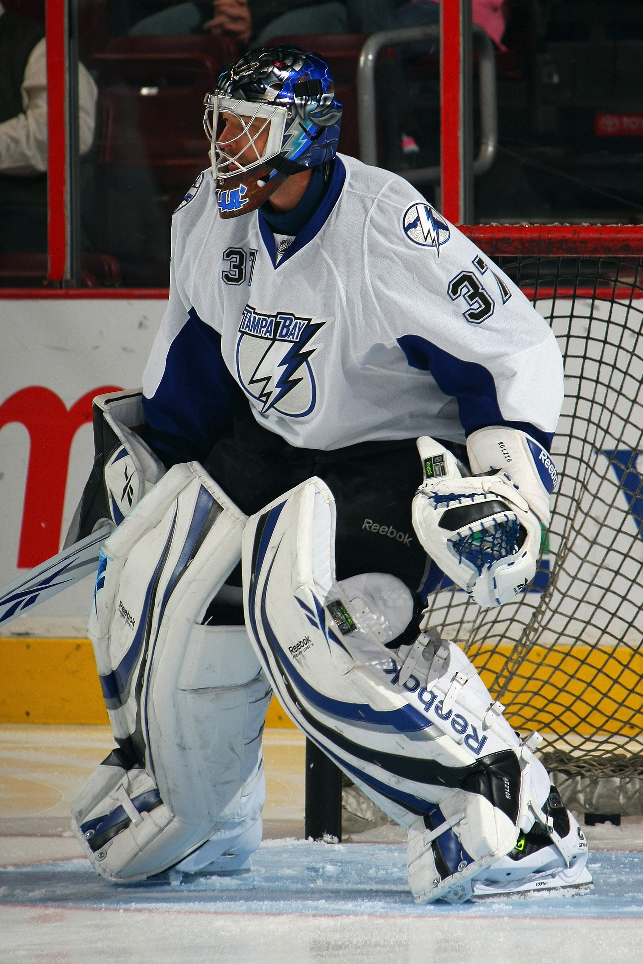 PHILADELPHIA - DECEMBER 2:  Olaf Kolzig #37 of the Tampa Bay Lightning warms up before the game against the Philadelphia Flyers on December 2, 2008 at Wachovia Center in Philadelphia, Pennsylvania. (Photo by Bruce Bennett/Getty Images)