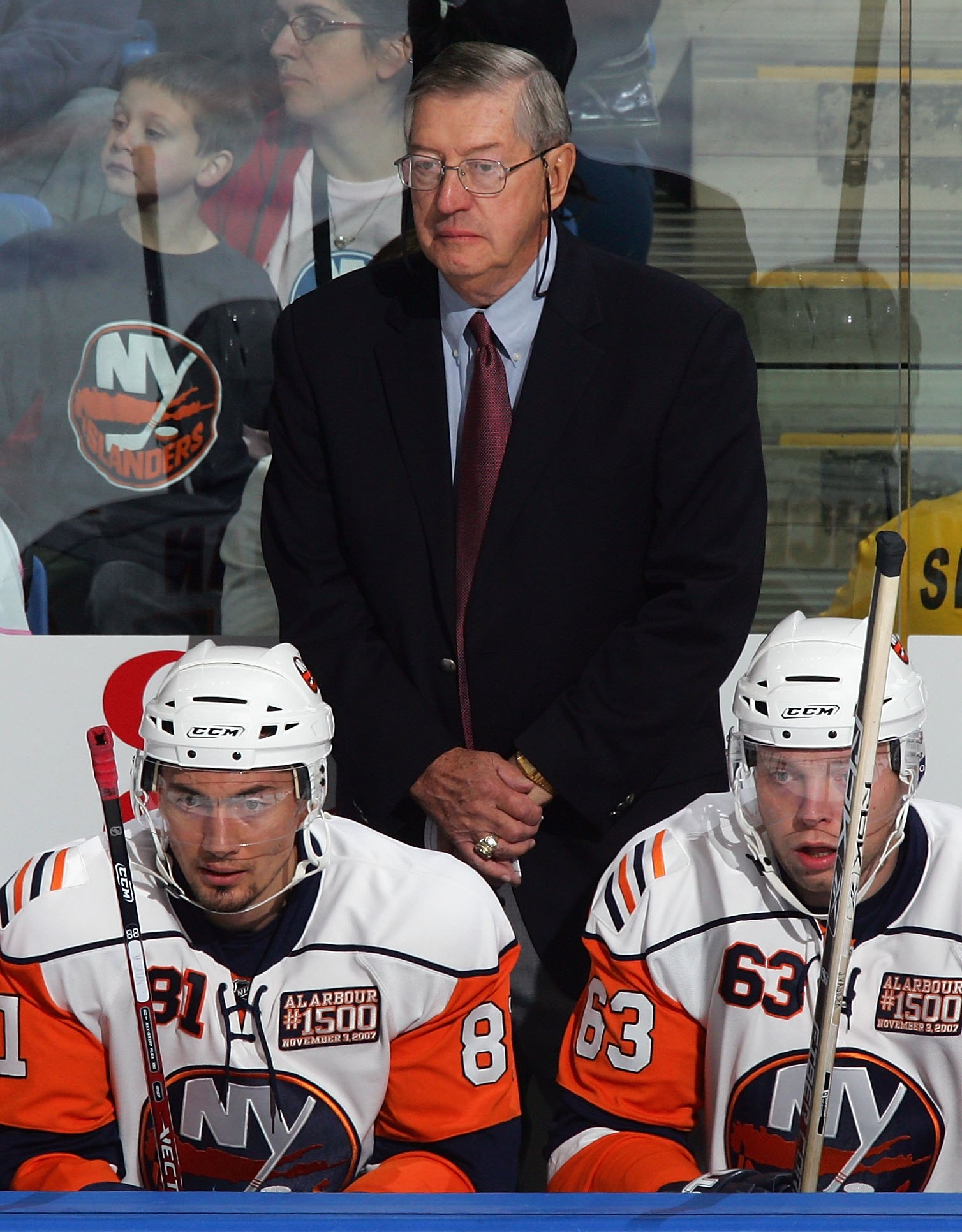 UNIONDALE, NY - NOVEMBER 03: Head coach Al Arbour of the New York Islanders stands behind the bench as he coaches his 1,500th game for the Islanders against the Pittsburgh Penguins on November 3, 2007 at Nassau Coliseum in Uniondale, New York. (Photo by J